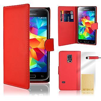 Boken plånbok PU läder fallet täcker för Samsung Galaxy S5 mini SM-G800 + penna - röd