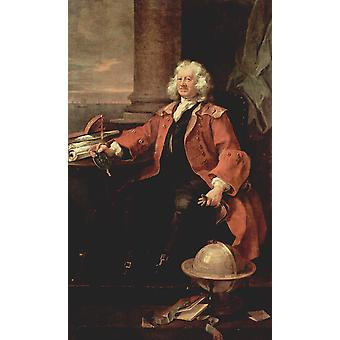 William Hogarth - Portrait in Red Poster Print Giclee