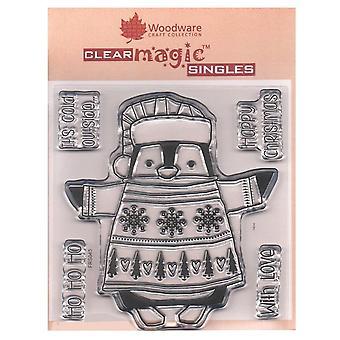 Woodware Clear frimærker indpakket pingvin 5 sæt