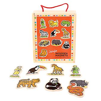 Bigjigs Toys Wooden Jungle Magnets - 20 Play Pieces