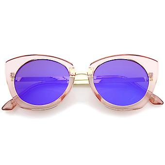 Women's Crystal Frame Colored Mirror Flat Lens Round Cat Eye Sunglasses 52mm