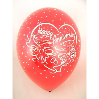 """Balloons 'HAPPY ANNIVERSARY' Red 12"""" Bag Of 25"""