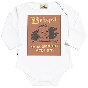 Spoilt Rotten Not All Wear A Cape Long Sleeve Organic Baby Grow