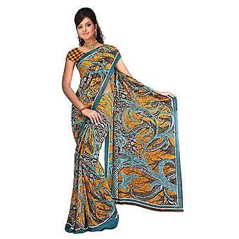 Basabi Georgette afgedrukt Casual Saree Sari buikdansen stof