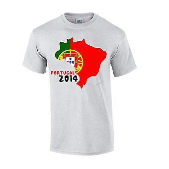 Portugal 2014 land vlag T-shirt (grijs)