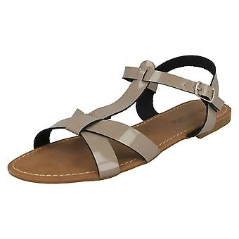 Ladies Spot On Buckle Sandals F0684