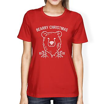 Bearry Christmas Bear Cute Holiday T-Shirt For Women Round Neck Tee