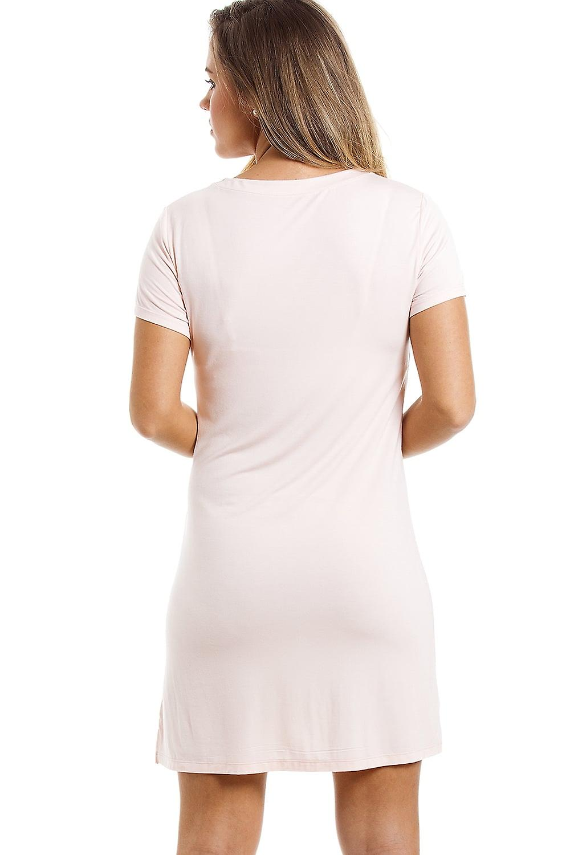 Camille Stylish Knee Length Short Sleeve Peach Nightdress