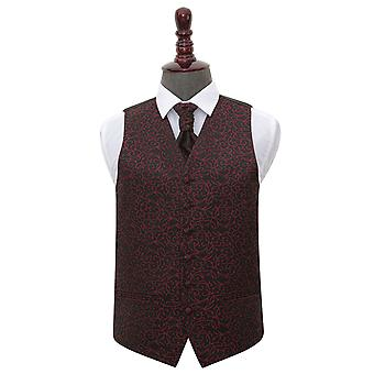 Black & Burgundy Swirl Wedding Waistcoat & Cravat Set