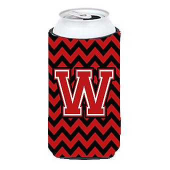 Letter W Chevron Black and Red   Tall Boy Beverage Insulator Hugger