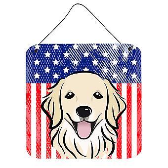 American Flag and Golden Retriever Wall or Door Hanging Prints