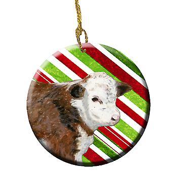 Bebê bezerro Candy Cane Holiday cerâmica enfeite de Natal