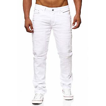 Men's jeans white pants biker denim look RABIH