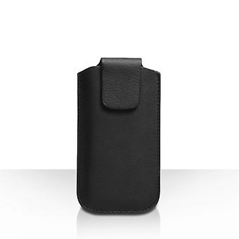 Caseflex Small Textured Leather-Effect Phone Pouch - Black