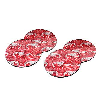 CGB Giftware Harbour 4 Red Lobster Glass Coasters
