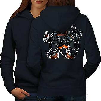 Cool Joystick Geek Gaming Women NavyHoodie Back | Wellcoda
