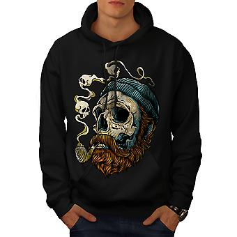 Head Face Beard Skull Men BlackHoodie | Wellcoda