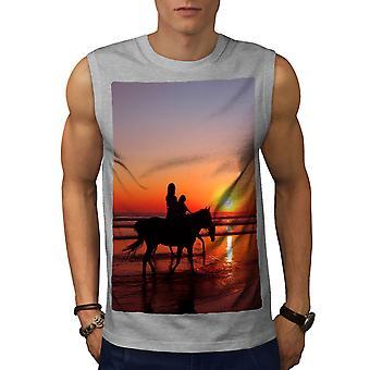 Horses Ocean Photo Men GreySleeveless T-shirt   Wellcoda