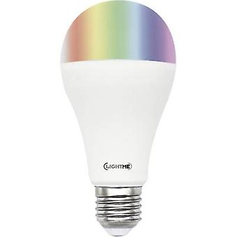LED E27 Arbitrary 10 W = 60 W RGBW (Ø x L) 65 mm x 130 mm EEC: A+ LightMe colour-changing, dimmable, incl. remote contro