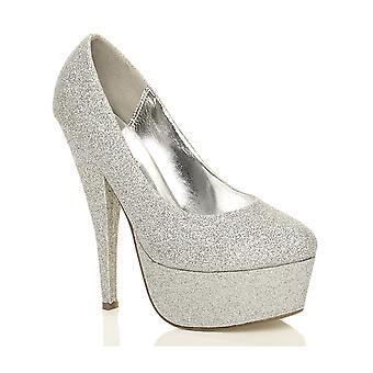 Ajvani womens platform high heel glitter party evening court shoes pumps