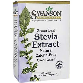 Swanson Stevia Extract Green Leaf 100 packets 100 g (Dietética , Edulcorantes)