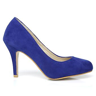 PEARL Electric Blue Faux Suede Stiletto High Heel Classic Court Shoes