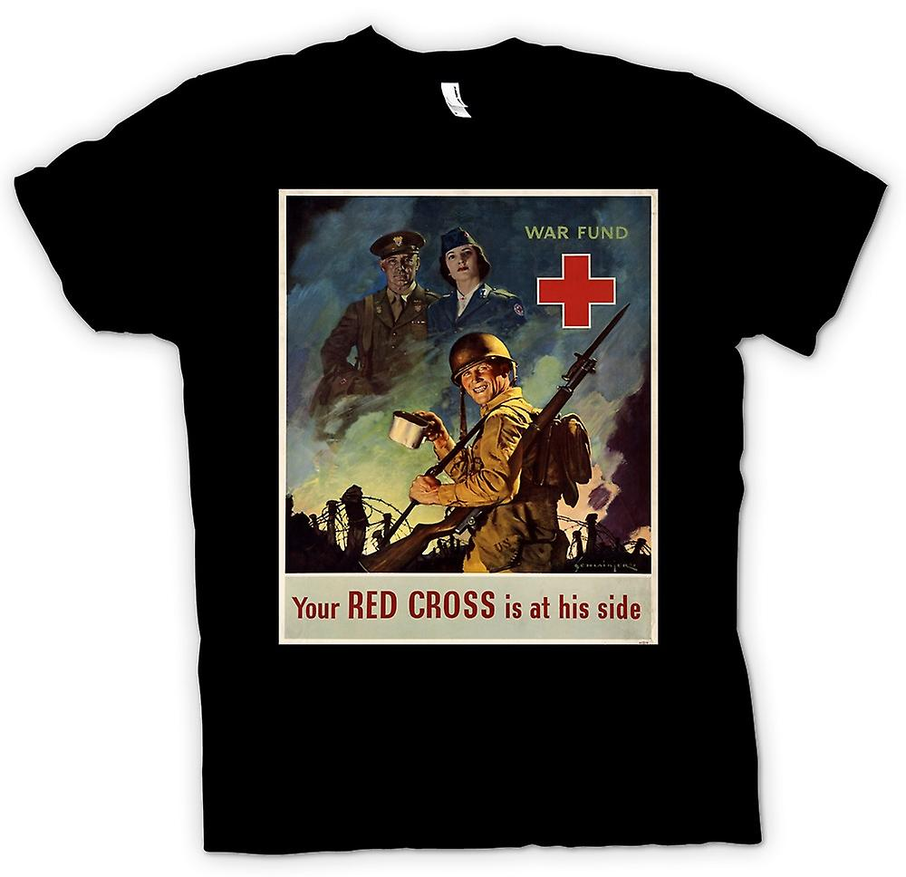 Mens T-shirt - Red Cross Fund - Vintage War Poster