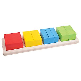 Bigjigs Toys Educational Wooden Square Fraction Board