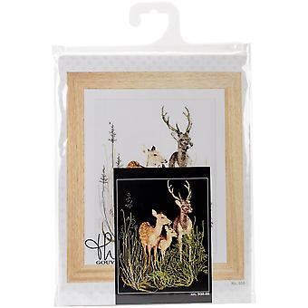 Deer Family On Aida Counted Cross Stitch Kit-11.75