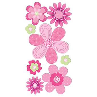 SandyLion Essentials Dimensional Stickers-Pink & Green Flowers