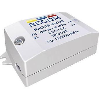Constant current LED driver 6 W 700 mA 8.4 Vdc Recom Lighting RACD06-700 Max. operating voltage: 264 V AC