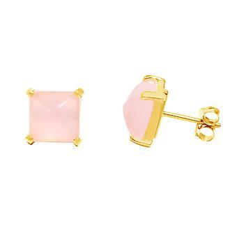 Gemshine - damer - øreringe - 925 sølv belagte - kalcedon - pink - 10mm