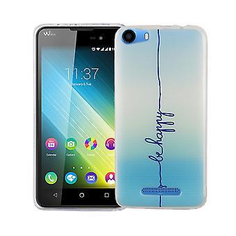 Caja móvil para adorno de bolsa protectora caso cubierta WIKO Lenny 2 slim TPU + armadura de cristal de protección 9 H las letras ser feliz azul