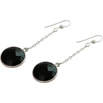 Ladies - earrings - earrings - 925 Silver - Onyx - Black - 2 cm