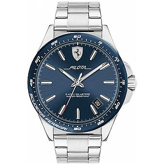 Scuderia Ferrari Mens Pilota Stainless Steel Blue Dial 0830527 Watch