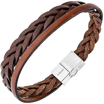 Men's bracelet 2-row Leather Brown braided stainless steel 21 cm Mr bracelet