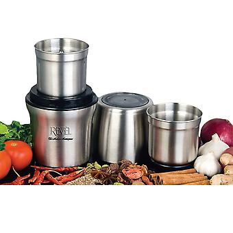 Revel CCM102 Wet 'N Dry Grinder 200W with Two Separate Bowls - Stainless Steel