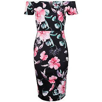 Ladies Short Sleeve Off Shoulder Bardot V Neck Back Split Floral Bodycon Dress