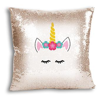 i-Tronixs - Unicorn Printed Design Champagne Sequin Cushion / Pillow Cover for Home Decor - 0