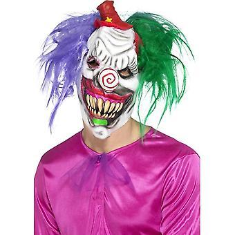 Kolorful Killer Klown Mask, Multi-Coloured, Latex, Full Overhead, with Hair