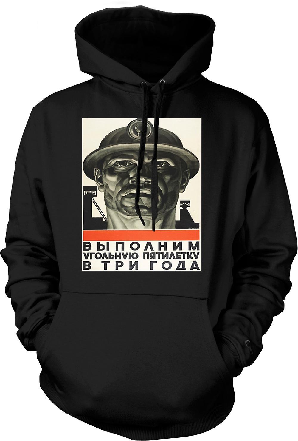 Mens-Hoodie - Miner russische Propaganda - Plakat