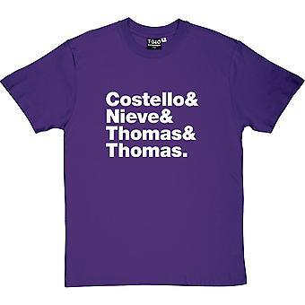 Elvis Costello & attraktioner Line-Up herrarnas T-Shirt