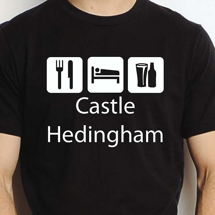 Eat Sleep Drink Castlehedingham Black Hand Printed T shirt Castlehedingham Town