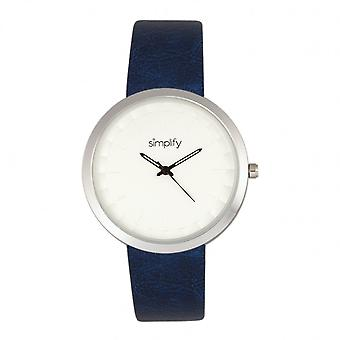 Simplify The 6000 Leather-Band Watch - Silver/Blue