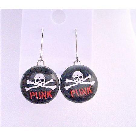 Smashing Skull Earrings w/ Word Punk