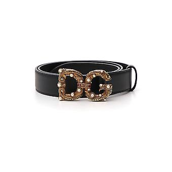 Dolce E Gabbana Black Leather Belt