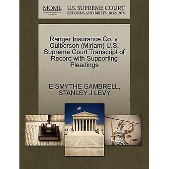 Ranger Insurance Co. v. Culberson Miriam U.S. Supreme Court Transcript of Record with Supporting Pleadings by GAMBRELL & E SMYTHE