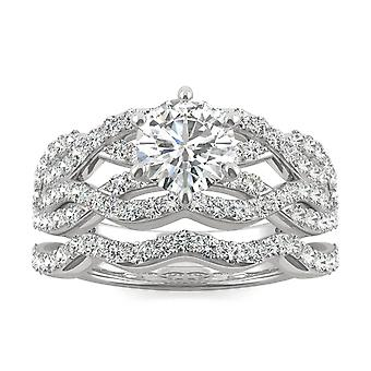 14K białe złoto Moissanite przez Charles idealna Colvard 6,5 mm okrągłe pierścionek zaręczynowy, 1.85cttw rosy