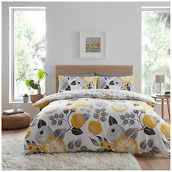 Neve Floral Printed Duvet Quilt Cover Reversible Bedding Set With Pillow Case