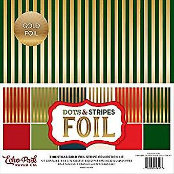Echo Park Paper Company Christmas Gold Foil Dots & Stripes 12x12 Inch Stripe Collection Kit (DSF17056)